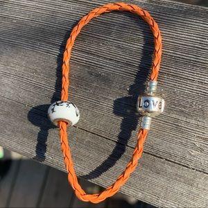 BOGO Today! Orange Leather Bracelet Sterling NWOT